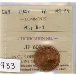 ONE CENT COIN (CANADIAN) *1947* (MS - 6Y)