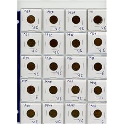 LOT OF 87 -ONE CENT COINS (CANADIAN) *1927 - 2012* (IN DISPLAY CASE)