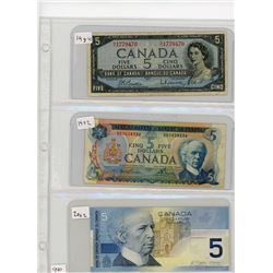LOT OF 3-FIVE DOLLAR BILLS (CANADIAN) *1954, 1972 & 2002*