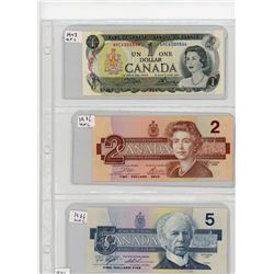 LOT OF 3 CANADIAN BANK NOTES (1973 ONE DOLLAR) *1986 TWO DOLLAR* (1986 FIVE DOLLAR)