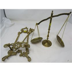 BRASS SCALE AND EASEL