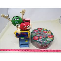 LOT OF M&M ITEMS (METAL TIN, ROLLER COASTER CANDY DISPENSER)