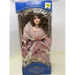 "PORCELAIN DOLL (WITH DISPLAY STAND) *18"" X 8""*"