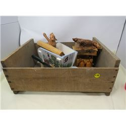 WOOD CRATE FULL OF HOUSEHOLD DECORATIONS