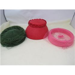 LOT OF 3 HATS (VINTAGE) *LADIES*