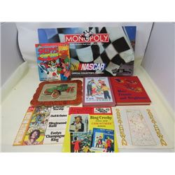 LOT OF MISC COLLECTABLES ( 1902 RAMBLER OLD TIMERS WALL DECORATION, BOOKS, NASCAR MONOPOLY, ETC)