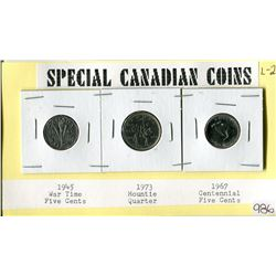 SPECIAL CANADIAN COINS (1945 VICTORY 5 CENT, 1973 MOUNTIE 25 CENT, 1967 CENTENNIAL YEAR 5 CENT)