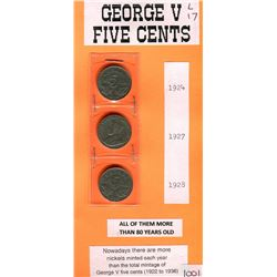 LOT OF FIVE CENT COINS (GEORGE V) *1924, 1927 & 1928*