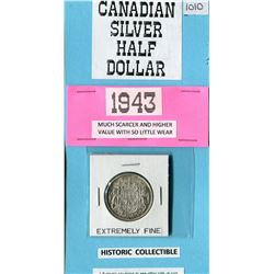 ONE 50 CENT COIN (CANADIAN) *1943* (SILVER)