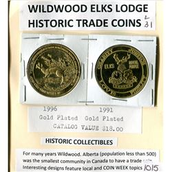 LOT OF 2 GOLD PLATED TRADE COINS (WILDWOOD ELKS)