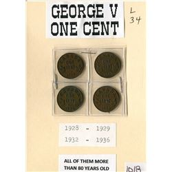 LOT OF 4 ONE CENT COINS (GEORGE V) *1928, 1929, 1932 & 1936*