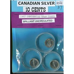 LOT OF 3-TEN CENT COINS (CANADIAN) *1967* (SILVER)