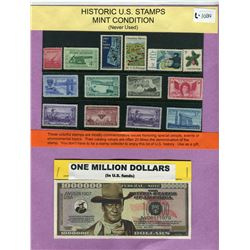 LOT OF 14 STAMPS AND MILLION DOLLAR BILL (US) *JOHN WAYNE*
