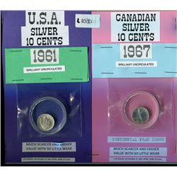 LOT OF 2 COINS ( US TEN CENT COIN, SILVER) *CANADIAN CENTENNIAL TEN CENT COIN, SILVER 1967*