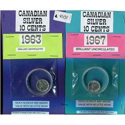 LOT OF 2 TEN CENT COINS (CANADIAN) *1963 & 1967*