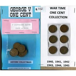 LOT OF 13 COINS (6 X WAR TIME ONE CENT) *7 X GEORGE V ONE CENT*