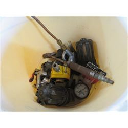 BUCKET OF MISC (AIR GAUGES, AIR TESTING APPARATUSES, ETC)