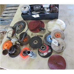 LOT OF MISC GRINDER WHEELS (BUFFERS, CUT OFF WHEELS, ETC) *VARIOUS SIZES*