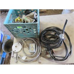LOT OF MISC BUILDING ITEMS (ELECTRICAL CORD, BOOSTER CABLES, PLUMBING HOSES, ETC)