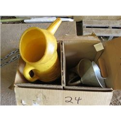 LOT OF MISC AUTOMOTIVE SUPPLIES (OIL FUNNELS, OIL JUGS, USED OIL, ETC)