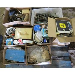 LOT OF MISC BUILDING SUPPLIES (FILES, CHISELS, PAINT SUPPLIES, SCREWS, BISCUIT JOINERS, NUTS AND BOL