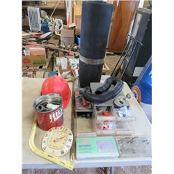LOT OF CONSTRUCTION ITEMS (RED HARD HAT, TEMPERATURE GAUGE, SPRING ASSORTMENT, SAW, ETC)