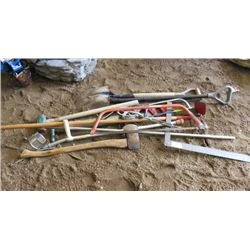 LOT OF MISC YARD TOOLS (AXES, WOOD SAWS, SHOVELS, HOE, CRUTCHES, ETC)