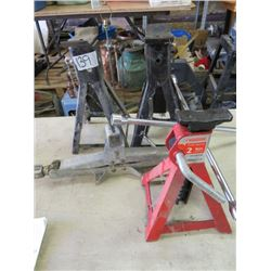 LOT OF 3 AXLE STANDS, CAR JACK AND SPEED WRENCH