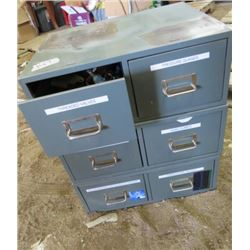 """LOT OF 3 WORK CABINETS (METAL) *7.5"""" X 18.5"""" X 15""""* (CONTENTS INCLUDED)"""