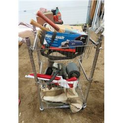 4 WHEELED TROLLEY (CONTENTS INCLUDED: HAMMERS, TOW ROPE, ELECTRIC MOTORS, CANADA FLAG, ETC)