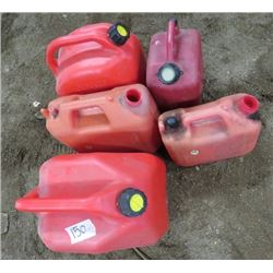LOT OF 5 GAS CANS (3 WITH LIDS, 2 WITHOUT) *1, 3 & 5 GALLON*