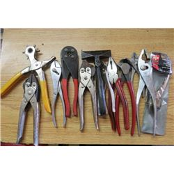 LOT OF MISC TOOLS (PLIERS, CUTTING PLIERS, ETC)
