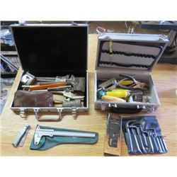 LOT OF 2 CASE OF MISC TOOLS ( SPARK PLUG MEASURES, ILLUMINATED MICROSCOPE, ALLEN WRENCHES, ETC)