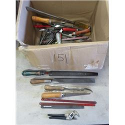 LOT OF MISC TOOLS (FILES, UTILITY KNIVES, HACKSAW BLADES, ETC)