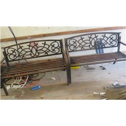 """LOT OF 2 METAL BENCHES (50"""" X 32"""" X 19"""")"""