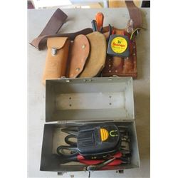 LOT OF MISC TOOLS (TOOL BELT, TOOL BOX, VOLTAGE TESTER, ETC)