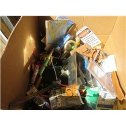LOT OF MISC SHOP ITEMS (TAPE MEASURES, MULTI TOOLS, MAPS, ETC)