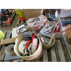 LOT OF MISC ITEMS (SPEAKER FILTERS, CARSEAT COVERS, HARD HAT, FLASHLIGHTS, JACK STANDS, WOOD BOX, ET