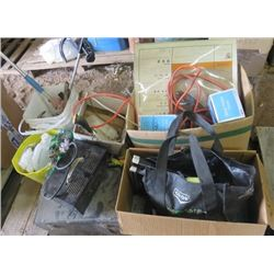 LOT OF SHOP ITEMS (BATTERY CHARGER, CHAINS, ELECTRICAL CORDS, MISC TOOLS)