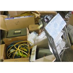 LOT OF YARD ITEMS (STEP LADDER, HEDGE TRIMMER, CANVAS TARP, EXTENSION CORDS, CHRISTMAS LIGHTS, ETC)