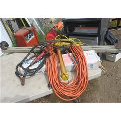 LOT OF SHOP ITEMS (BOOST CABLES, TROUBLE LIGHTS, BASEBOARD HEATER, ELECTRICAL CORDS, WELDING HELMET,