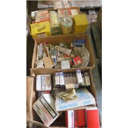LOT OF MISC SHOP SUPPLIES ( COPPER PLUGS, PUSH-PULL CONTROL, FUEL FILTERS, THERMOSTAT, OIL FILTERS,