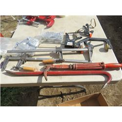 LOT OF SHOP SUPPLIES (WRENCHES, CLAMPS, TABLE CLAMPS, CROWBAR)