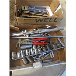 LOT OF COMBINATION WRENCHES, SOCKETS AND A HAMMER