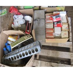 LOT OF ITEMS (ELECTRIC HEATER, SPARK PLUGS, CHAINS, ANTI FRICTION OIL, ETC)