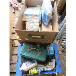LOT OF MISC ITEMS ( SANDING DISCS, TACKLE BOX, TREBLE LIGHTS)