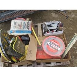 LOT OF MISC ITEMS (DART BOARD, AIR FILTERS, LIFE JACKETS, FIRE EXTINGUISHERS, ETC)