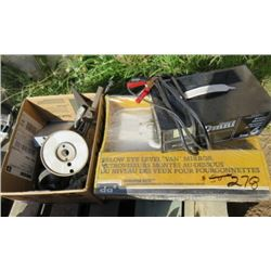 LOT OF SHOP SUPPLIES (BATTERY CHARGER, VAN MIRRORS, ELECTRICAL WIRE, DRILL BIT CASE, ETC)