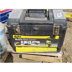 TOOL BOX (STANLEY) *INCLUDES ASSORTED TOOLS; HEAT GUN, WRENCHES, WIRE CHIMNEY BRUSH, ETC*
