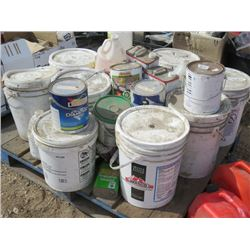 LOT OF PAINTING SUPPLIES (THOMPSON WATER SEALANT X 4, INDOOR PAINT, ETC)